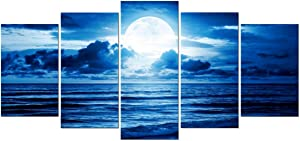 Pyradecor Blue Clouds Canvas Prints Wall Art Moon Sea Beach Pictures Paintings Ready to Hang for Living Room Bedroom Home Decor Modern 5 Piece Stretched and Framed Landscape Giclee Artwork