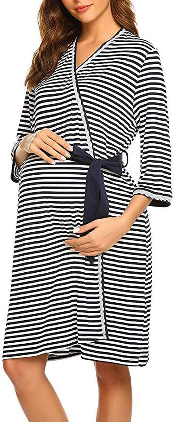 Ropa para Dormir para Premamá Camisón Lactancia Pijama Embarazada Algodón Camisones Premama Hospital Vestido Maternidad Rayas Bata Otoño Invierno/2XL: Amazon.es: Ropa y accesorios