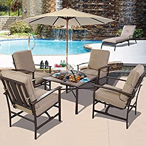 Amazoncom GHP Outdoor Patio 5 Piece Chair BBQ Stove Fire Pit
