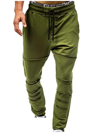 326523214ed71a Vska Men Trim-Fit Casual Pure Ripped Distressed Drawstring Waist Sweatpants  Army Green S