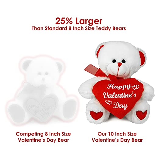 Amazon.com: Valentines Day Teddy Bear U2013 Big 10 Inch Size Stuffed Animal U2013  Plush Valentine Gifts For Him Or Her: Toys U0026 Games