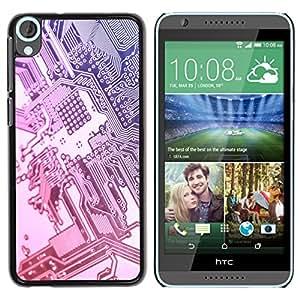Qstar Arte & diseño plástico duro Fundas Cover Cubre Hard Case Cover para HTC Desire 820 ( Computer Chip Art Code Technology Silver)