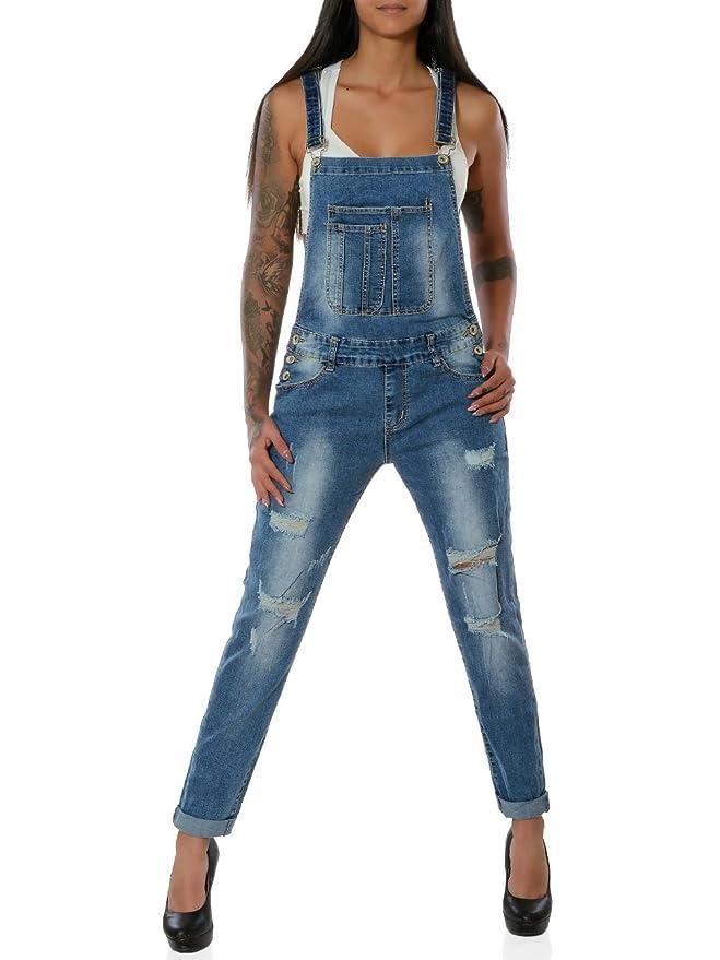 Damen Latzhose Hüftjeans Röhrenjeans Latzjeans Skinny Stretch Jeans Hose Overall