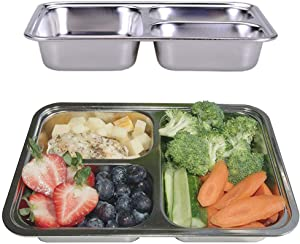 AIYoo 304 Stainless Steel Dinner Plate Three sections divided plate Set of 2 Mess Food Trays for Kids Toddlers Camping Serving Trays