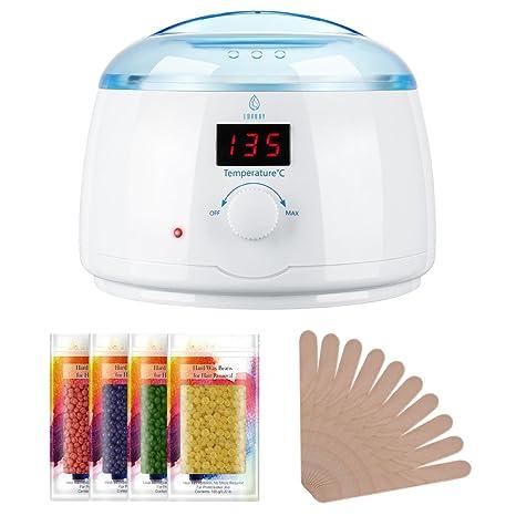 LAVANY Waxing Set Wachs Haarentfernung Wax Warmer, Warmwachs Wachswärmer mit 4 X 100g Wachsperlen, 10 X Holzspateln, 30-135 °