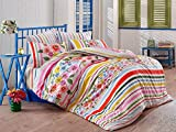 4 Pcs Full and Double Bed Size Bedroom Bedding 100% Cotton Ranforce Double Quilt Duvet Cover Set Soft Relaxing Comfortable Pattern Design Lined Flower Sanforized & Antibacterial /