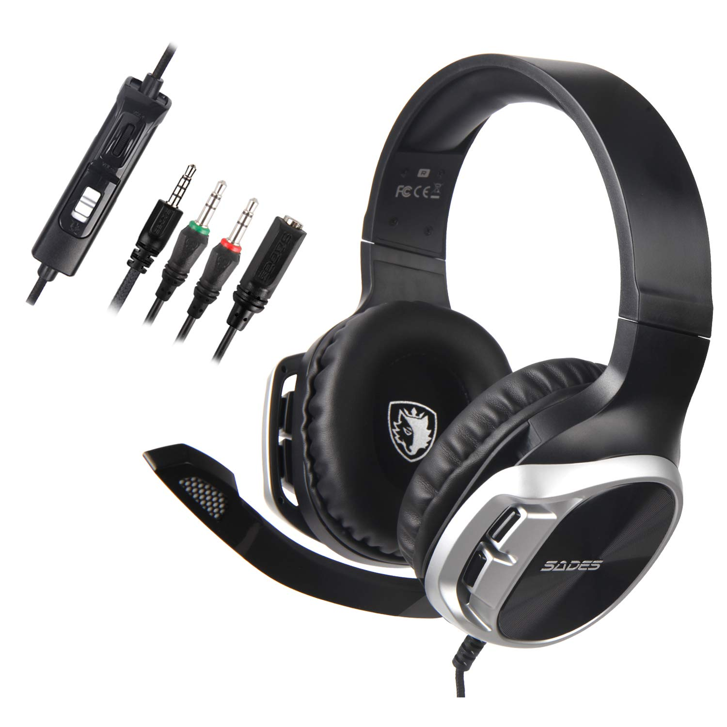 Sades Stereo Gaming Headset for Xbox One PS4 PC,Surround Sound Over-Ear Headphones Anti-Noise Mic,Volume Control Laptop, Mac,Smartphone, iPad – R17 Black Silver