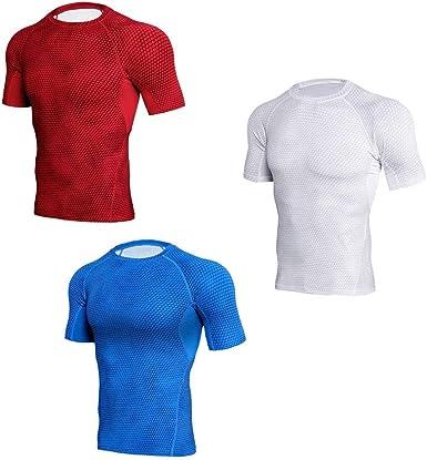 Camiseta Deportiva de Manga Corta para Hombre de Dos Piezas/Tres Piezas de Ajuste ceñido (Color : 15, Size : XXL): Amazon.es: Ropa y accesorios
