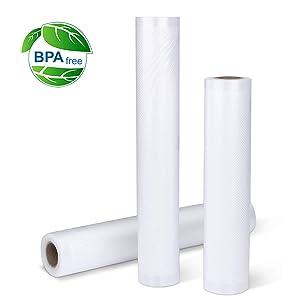 "Vacuum Sealer Bags, Blusmart 8""/11"" x 118""(3-Pack) Food Vacuum bags,Customized Commercial Grade Bag Rolls for FoodSaver,Vac storage, Meal Prep,Sous Vide"