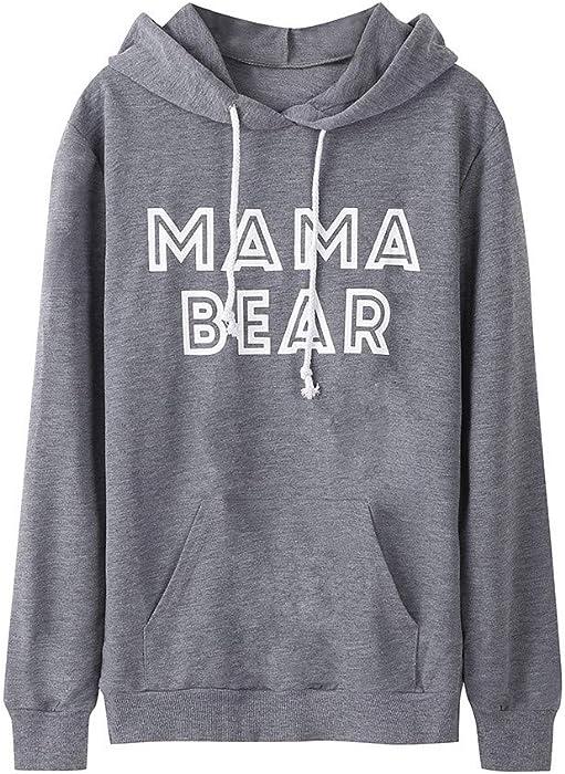 Sudaderas para Mujer, K-Youth Otoño Ropa Moda Mama Bear Letras Sudaderas Manga Larga Blusa Tops Sudaderas Tumblr Mujer 2018 Outwear Abrigos Mujer Invierno