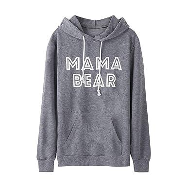 Sudaderas para Mujer, K-Youth Otoño Ropa Moda Mama Bear Letras Sudaderas Manga Larga Blusa Tops Sudaderas Tumblr Mujer 2018 Outwear Abrigos Mujer Invierno: ...