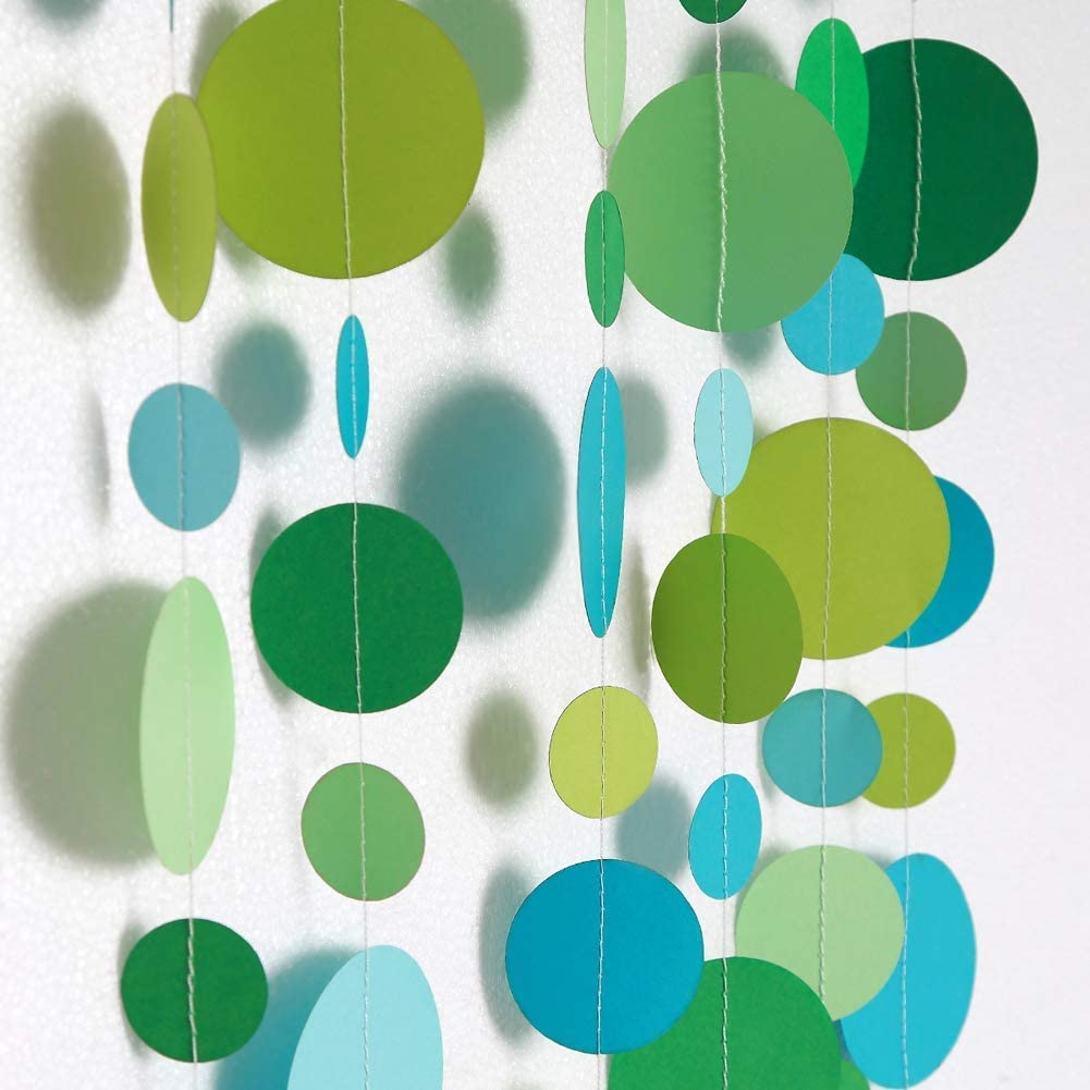 Green and Blue Circle Dots Garlands Kit for Party Decorations Spring Summer Bubble Hanging Streamer Backdrop Wall Bunting Banner for Wedding/Baby Shower/Birthday Under The Sea/Table Runner