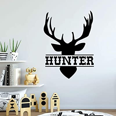 Name Wall Decal, Antler Deer Decal, Kids Room Decor, Boy Name Decal, Hunter Decal, Boy Room Decor, Deer Sticker, Boy Bedroom Decor 32 Inch in Width: Kitchen & Dining
