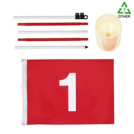 KINGTOP Golf Flagsticks Pro, Putting Green Flags Hole Cup Set, All 6 Feet, Golf Pin Flags for Driving Range Backyard, Portable 5-Section Design