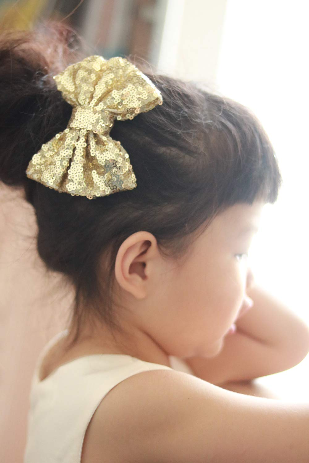 Gold Missgrace Gold Silver Glitter Pigtail Bows Girl Bows Gold Pigtail Bows Headband or Clip Toddler Bows Pigtails Sparkle Bow Hair Accessories
