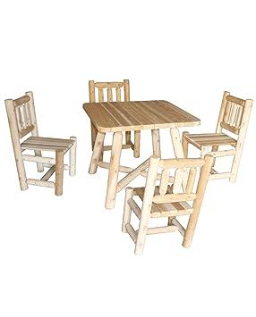 Table et chaises en bois, ensemble salle à manger, réf R4S, Cèdre ...