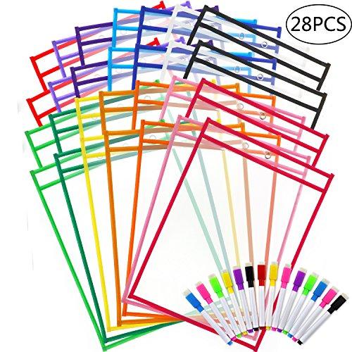 JPSOR Dry Erase Pocket - 28pcs 14-Color Dry Erase Sleeves & 28 Colorful Erasable Pens]()