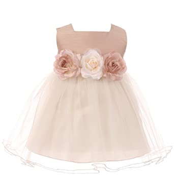 487b40a19b0 Amazon.com  Baby Girls Elegant Square Neckline Tulle Party Infant Toddler  Flower Girl Dress  Clothing