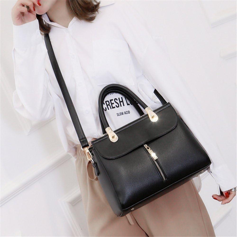 Color : Black, Size : OneSize ALLHM Fashion Handbag Waterproof Simple Shoulder Messenger Bag Leather Large Capacity Mother Bag Wallet Multi-Pocket Capacity