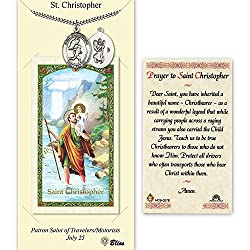 Pewter St. Christophertrack&field Medal On An 24 Inch Heavy Curb Chain With A Prayer To St Cristopher Prayer Card.