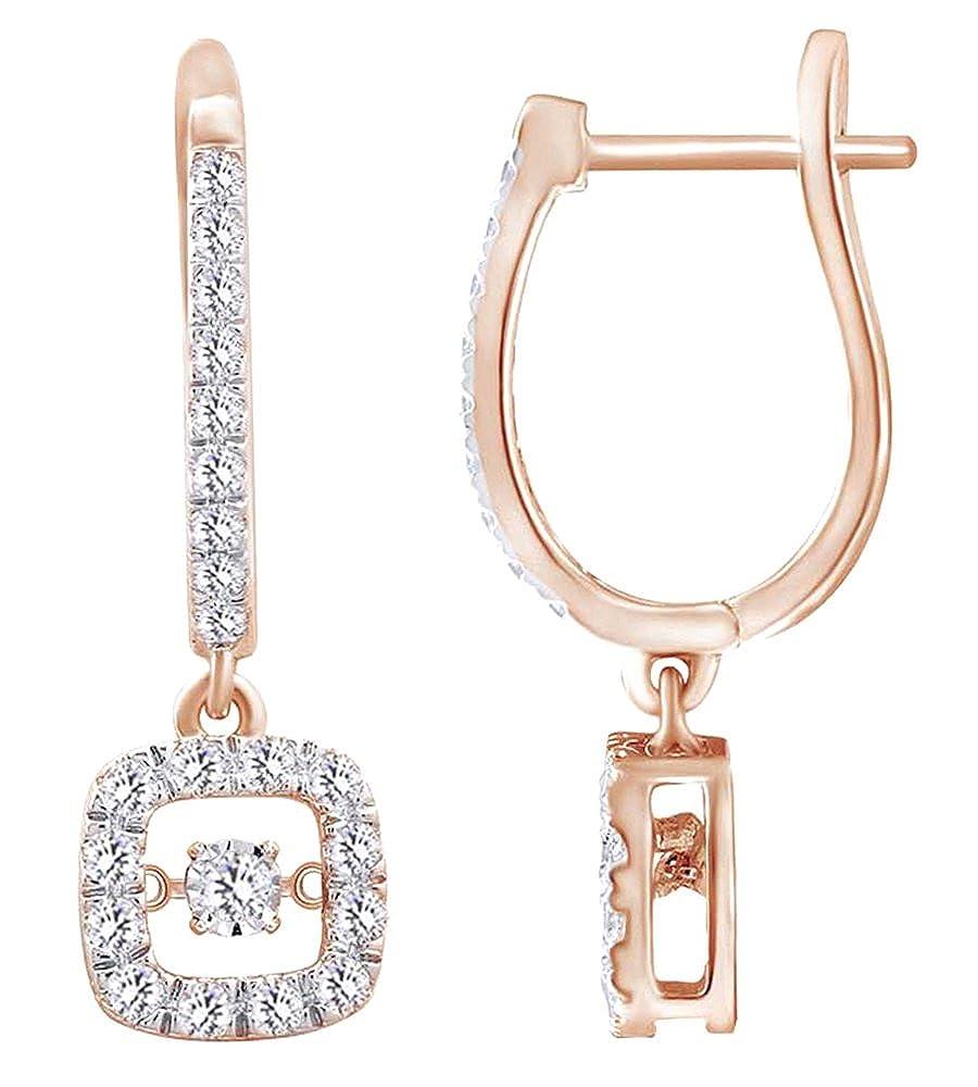 1,5 Karat Dancing Weißszlig; natürlicher Diamant Fashion Ohrringe in Tropfenform 14 ct 585 Massiv Weißszlig; Gold 14 Karat RotGold