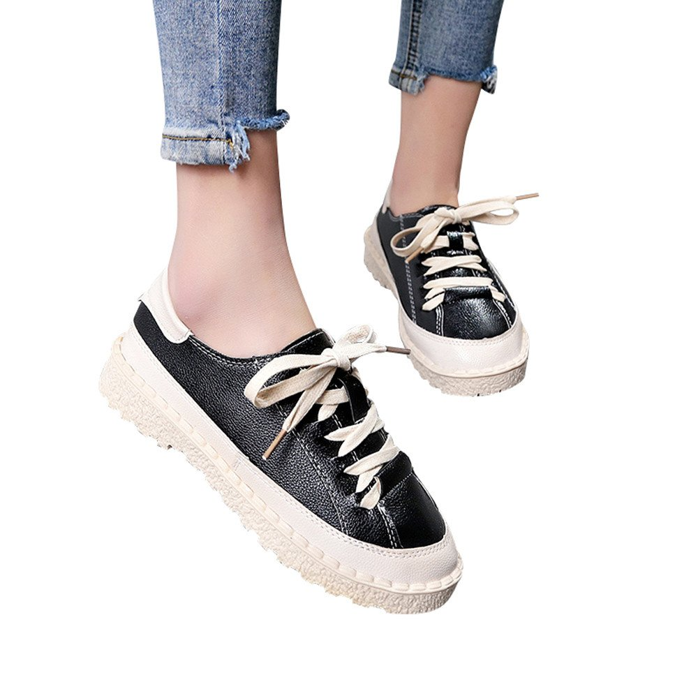 Shoes For Womens -Clearance Sale ,Farjing Fashion Women's Sports Shoes Ankle Flat Lace-Up Casual Shoes Short Boots(US:6,Black)