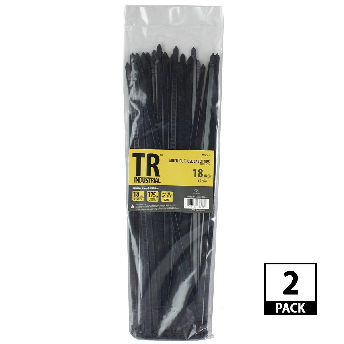 TR Industrial TR88305-2PK Multi-Purpose UV Cable Ties (100 Pack), 18'', Black