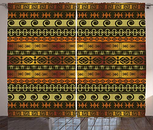 Zambia Shower Curtain Ethnic Ornamental Abstract Heritage Traditional Ceremony Ritual Image Living Room Bedroom Window Drapes Set Gold Dark Brown Orange 54
