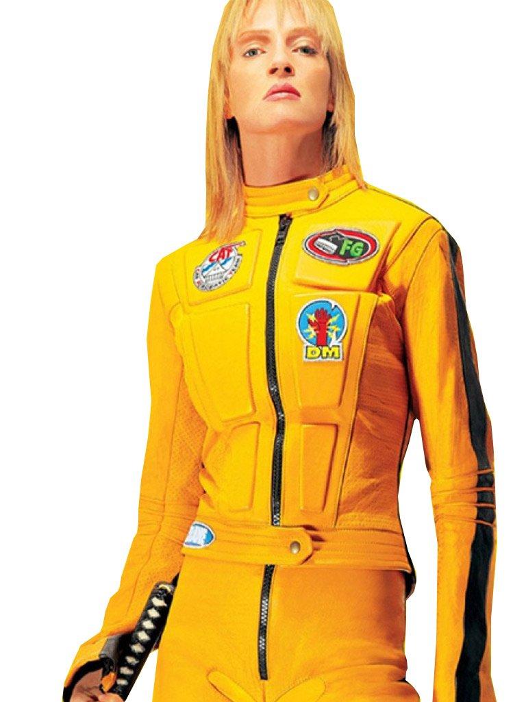 No Brand Kill Bill Movie Women Uma Thurman Biker Yellow PU Leather Jacket (XXS-Suitable for 30'', Yellow) by nobrand