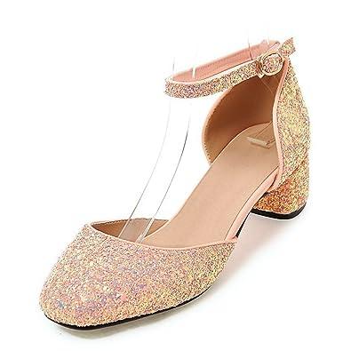 52a2f9103e Aisun Damen Glitzer Paillette Geschlossen Knöchelriemchen Blockabsatz  Sandale Rosa 32 EU