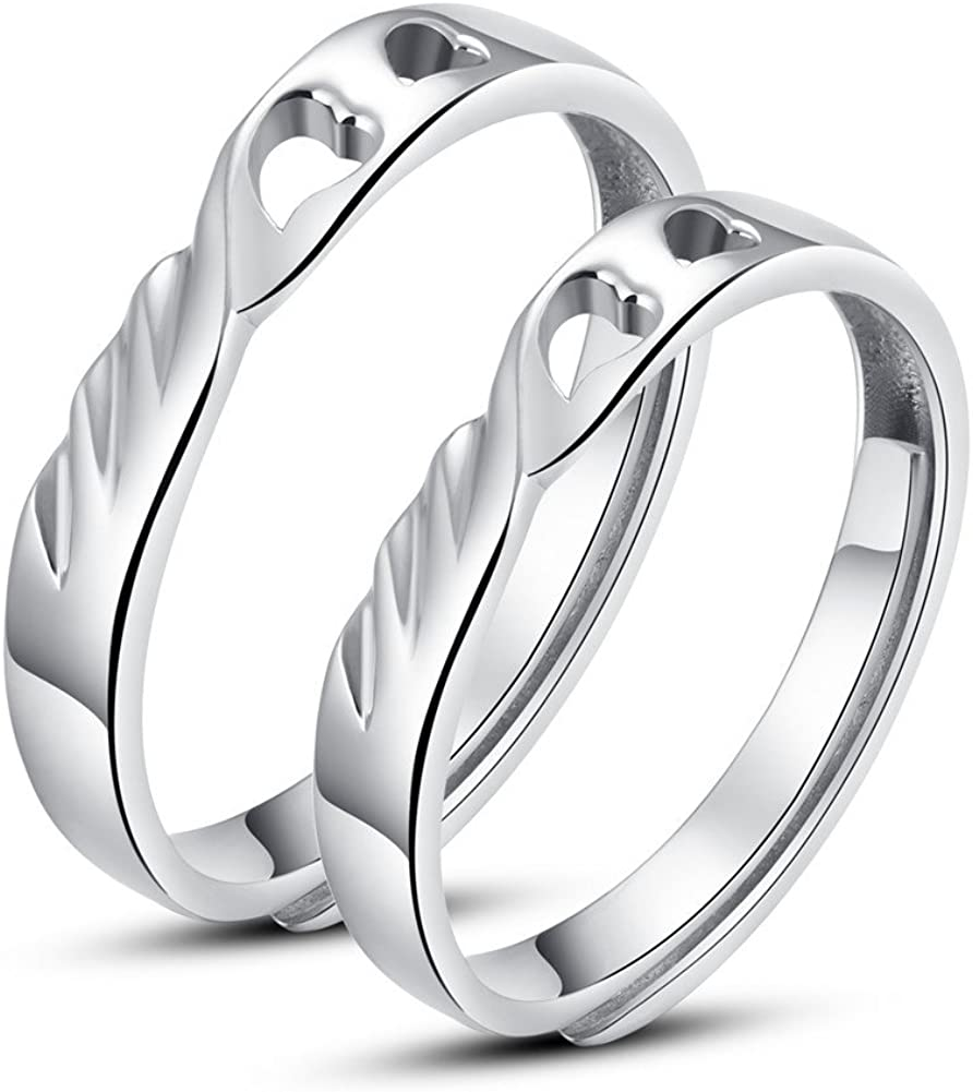 Minalo broche de plata de ley Lancashire Textiles de los anillos de los anillos de boda ajustable de los anillos de compromiso con piedra juego de aros de alma gemela de pareja
