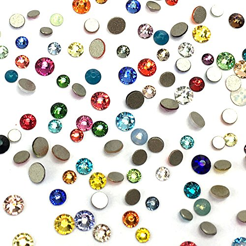 Assorted Mix Colors Colorful 2058 Swarovski Crystal Nail Art Tiny Small Mixed Sizes ss5 ss7 ss9 Flatbacks No Hotfix Rhinestones by Paradise Station
