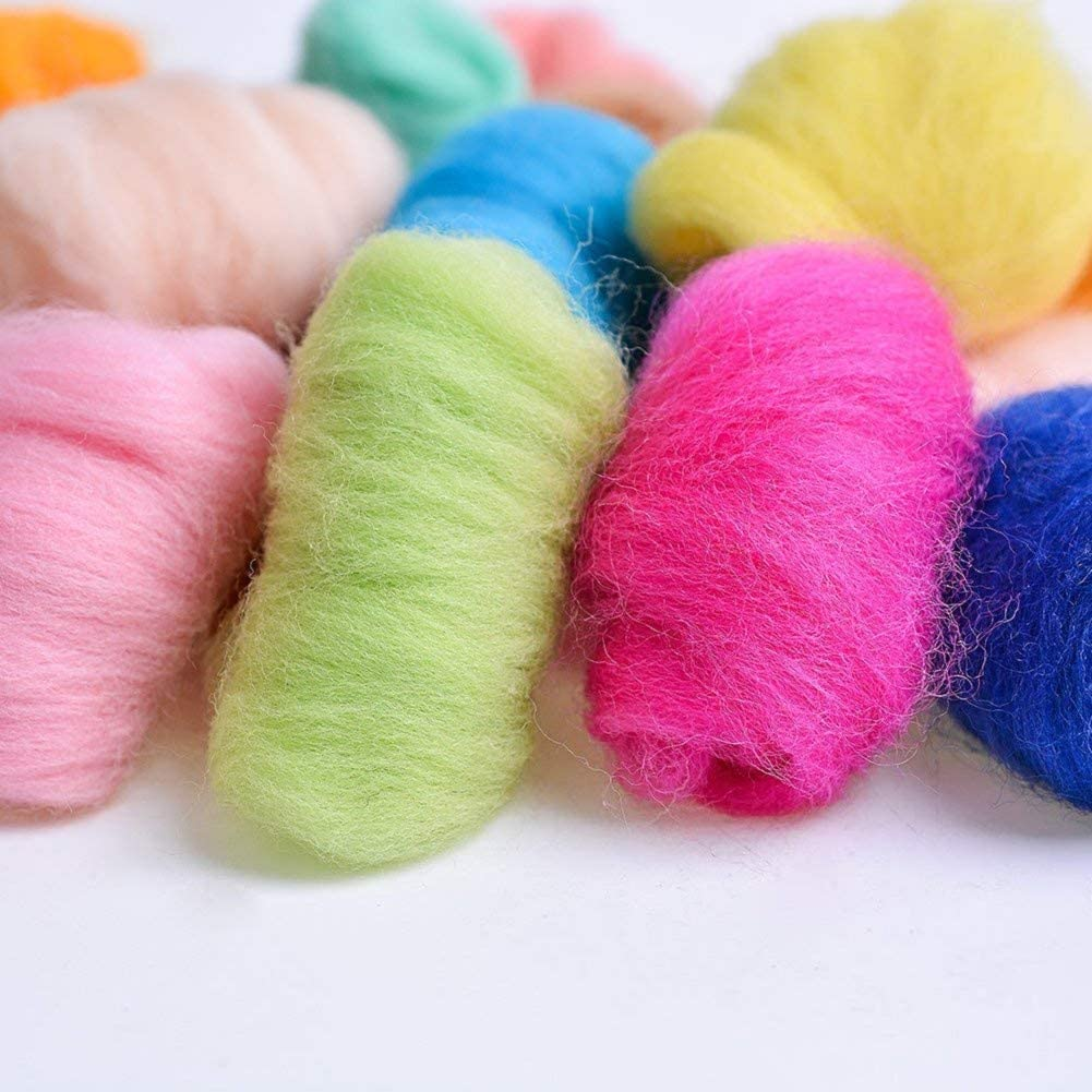 n Eco-Friendly Super Soft Natural 19 Microns Artec360 8 Pack Needle Felting Wool Roving Total 2.8 OZ Merino Wool 70S