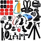 Deyard Gopro Accessories Kit Premium Set for Gopro Fusion/Hero 6 Black/Hero 5 Black Session/ Hero Session/Hero 4 Sliver Black/ Fit Xiaomi Sj4000/5000/6000 Yi AKASO Campark DBPOWER Action Camera