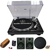 Audio-Technica Professional Stereo Turntable w/ USB LP to DIG Recording Piano Black (AT-LP120BK-USB) w/ Record Cleaning Fluid + Mackie CR3 Multimedia Monitors (Pair) + Deco Gear Turntable Platter Mat