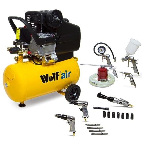 Wolf Sioux 25 Autoshop juego de compresor de aire 2 - incluye 5 pc Spray Kit