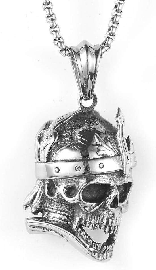 Bernice Funk Collar con Colgante de Acero Inoxidable para Hombres Collar de Acero con Titanio con Diseño de Calavera de Equitación VintageComo se muestra