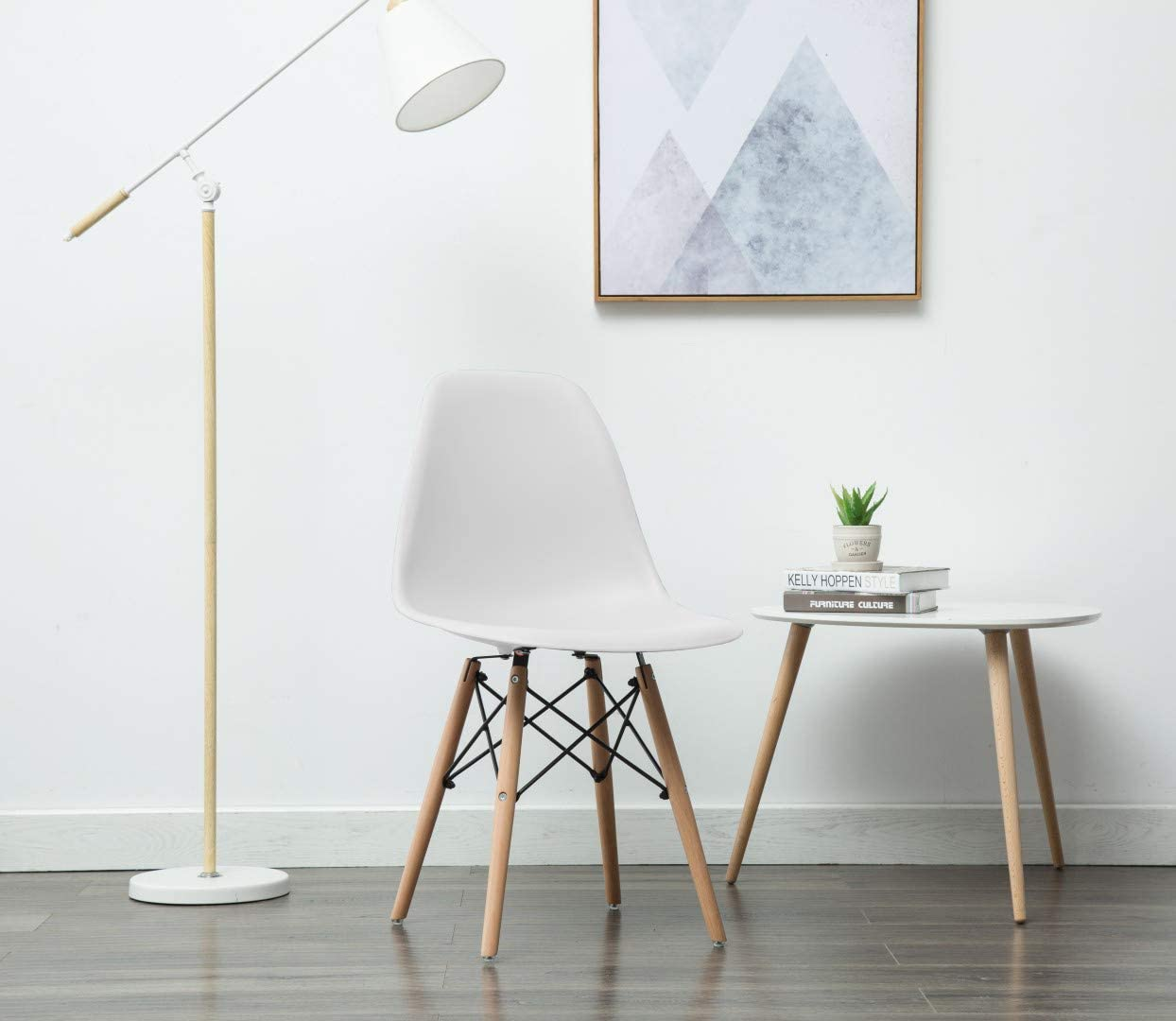 Porthos Home April Mid-Century Dining Crafted from Molded Plastic with Eiffel-Inspired Birch Wood Legs, Also As A Side Chair for Any Room in The House Or Office, One Size, White