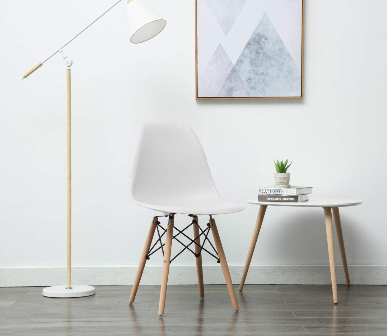 Porthos Home April Mid-Century Dining Crafted from Molded Plastic with Eiffel-Inspired Birch Wood Legs, Also As A Side Chair for Any Room in The House Or Office, One Size, White by Porthos Home