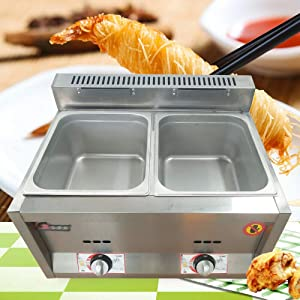 2-Pan Commercial Gas Food Warmer Restaurant Steam Table Stainless Steel Adjustable Temp Countertop Food Warmer Gas Fryer Gas-Fired Food Heating Pot