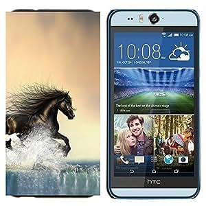 TECHCASE---Cubierta de la caja de protección para la piel dura ** HTC Desire Eye ( M910x ) ** --Caballo salvaje libre de Brown Water Running
