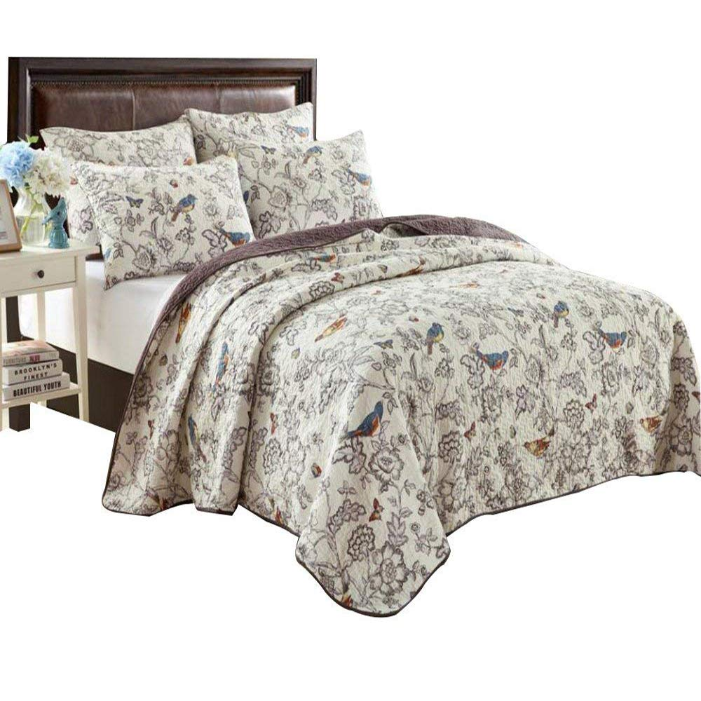 Luxury Vintage Beige Bedding Quilt Queen Size, Elegant Floral Quilt Bedspread Set with Birds, Flower & Butterfly Jacquard, Machine Washable All Seasons Bedspread Coverlet, Style2 FashionStreets FSUS170908Q2
