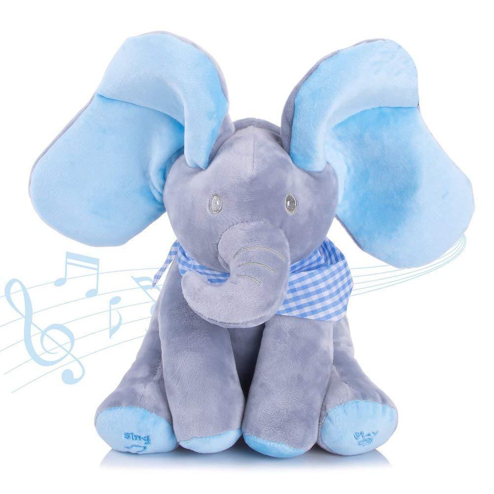 Abester Musicale l'Eléphant Flappy Peluche Animal Peluche Musicale Jouets Bébé Enfant Cadeau d'anniversaire Noël ( Bleu Éléphant)