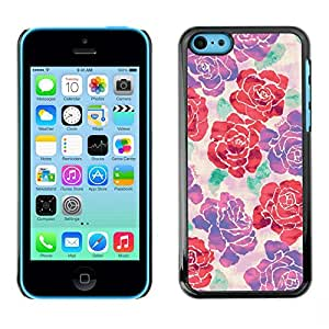 FlareStar Colour Printing Begonia Rose Floral Silk Art Design Spring cáscara Funda Case Caso de plástico para Apple iPhone 5C