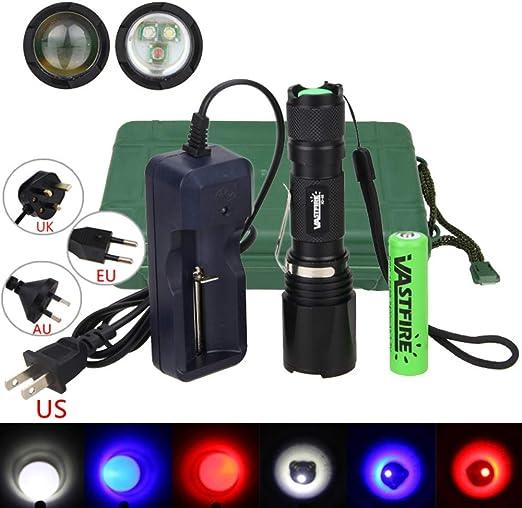 xd-96h Multicolor linterna, foco ajustable, 3-color-in-1 (azul, rojo, blanco) Escaneo luz nocturna LED para Coyote, Predator, Varmint & Hogs: Amazon.es: Bricolaje y herramientas