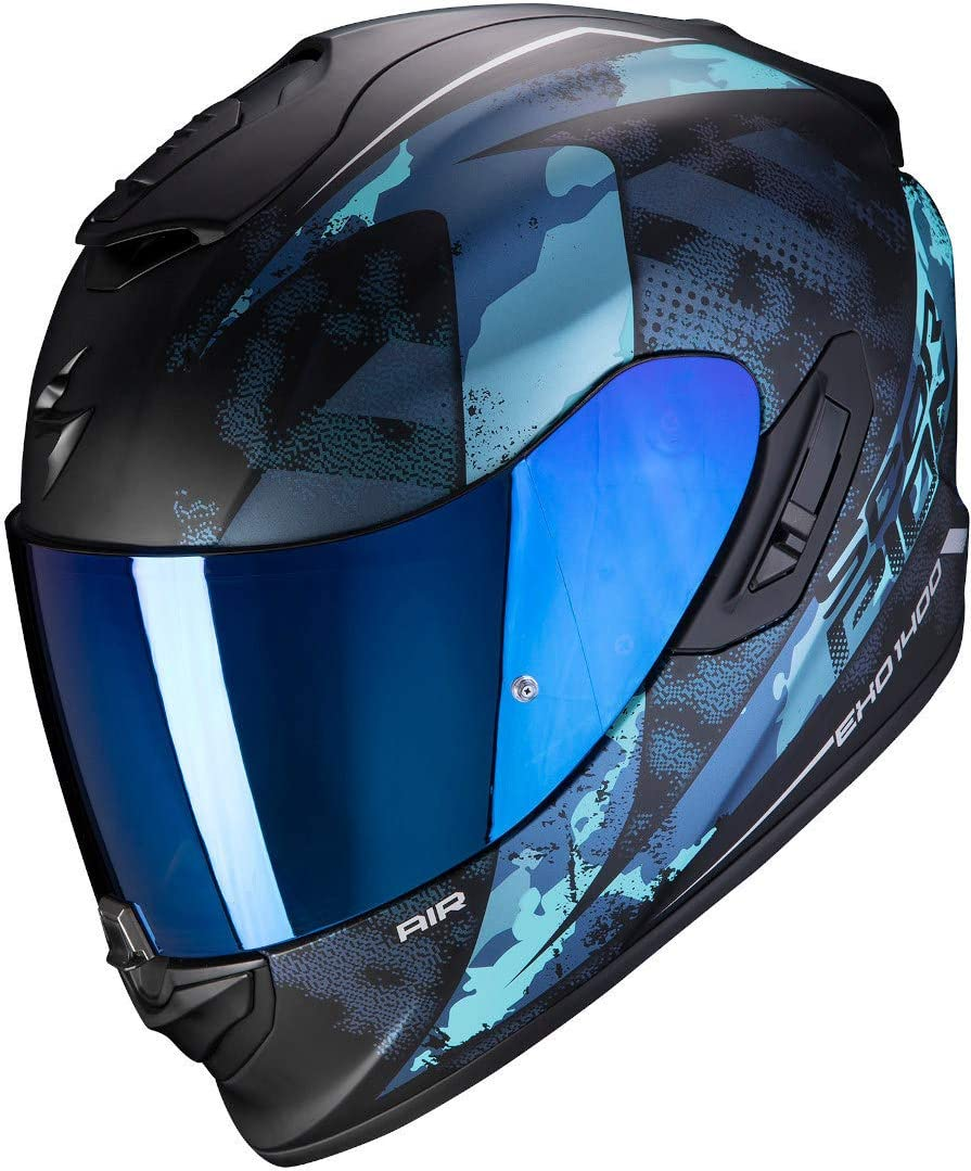 Scorpion Herren Nc Motorrad Helm Schwarz Blau L Auto