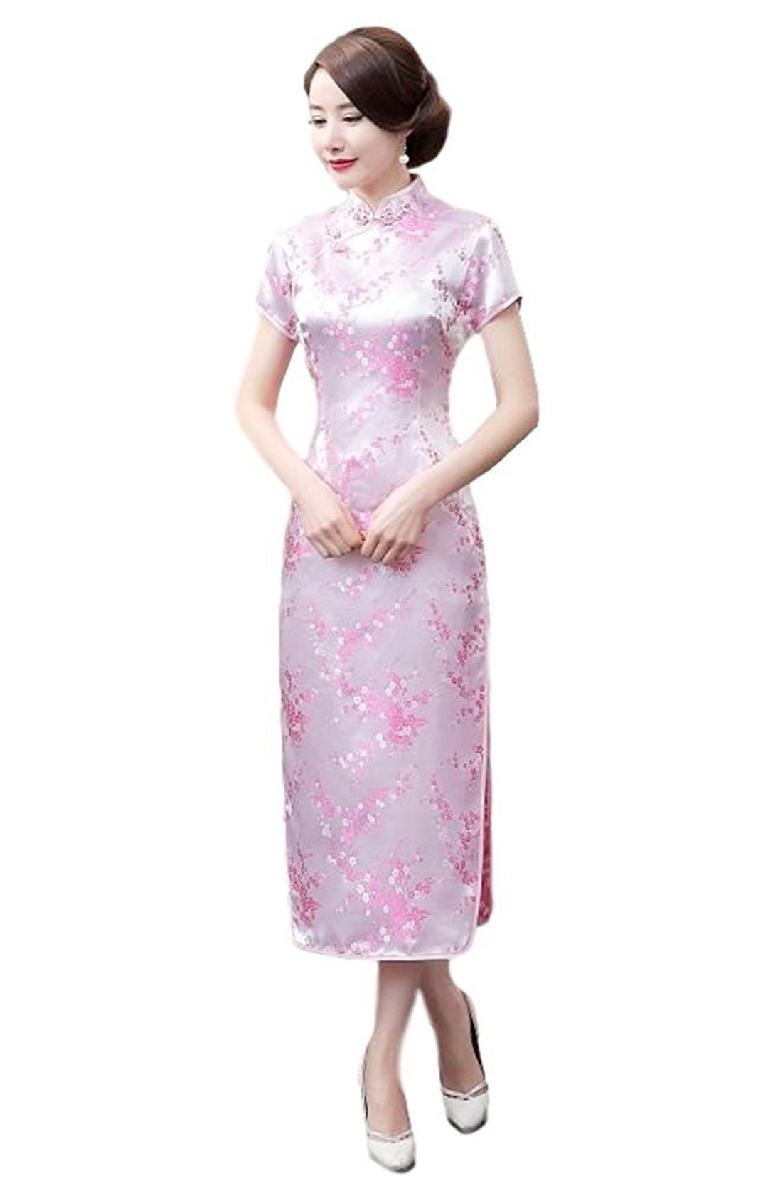 Maritchi Women's Long Chinese Wedding Dress Cheongsam Qipao Retro Long Flower Printing Elegance Beauty (10(ChineseXXL), Pink)