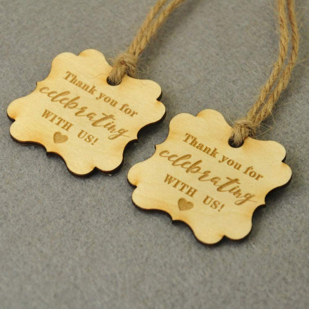 Wood Tags Personalized 50/100pcs Custom Wooden Tags Wedding Tags Thank You Decoration