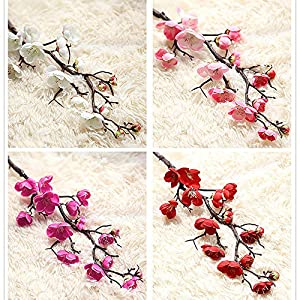 VANKER Artificial Silk Flower Plum Blossom Bouquets Fake Reusable Flowers Home Wedding Decor 24