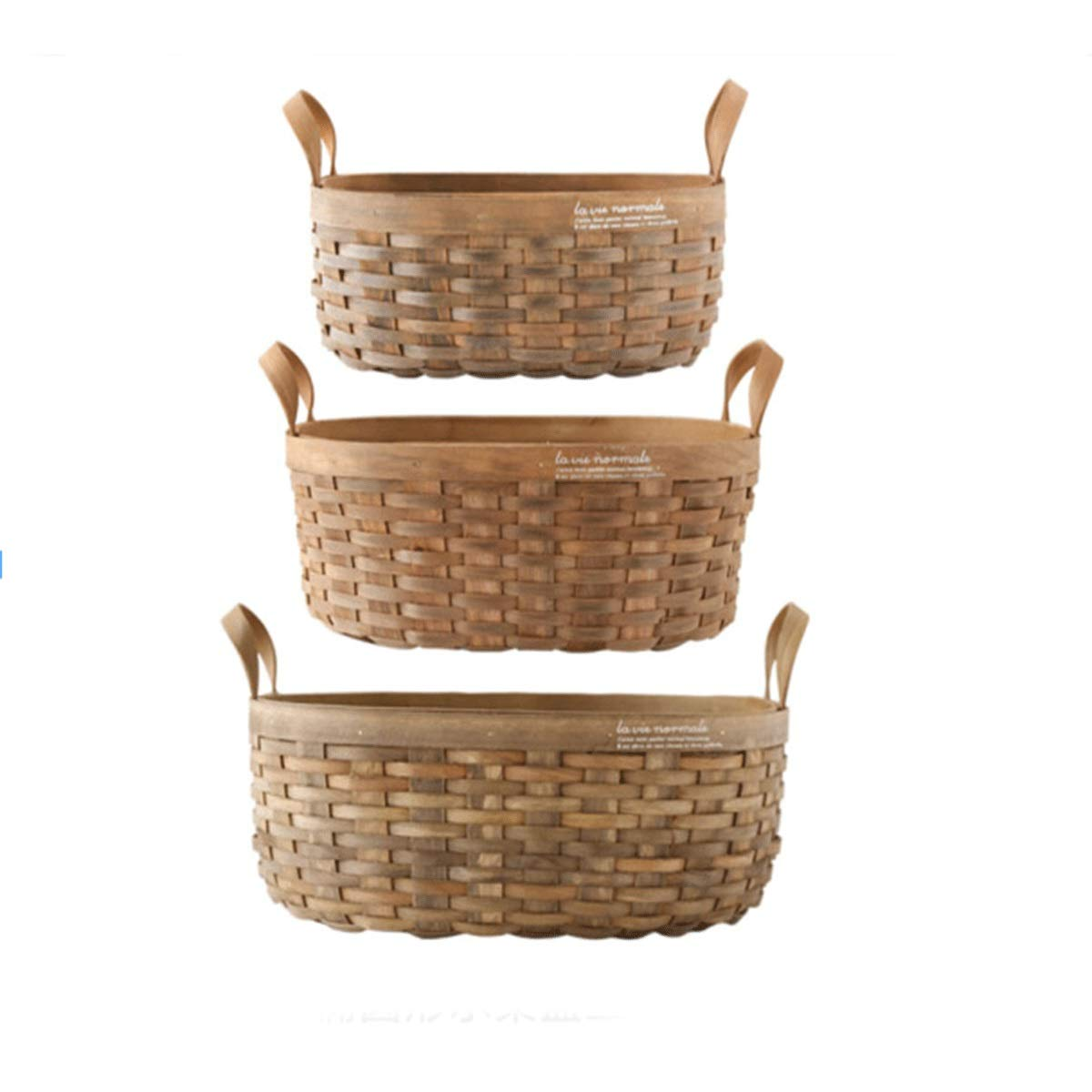 Tongboshi Bread Basket, Hand-Woven Storage Basket (with Handle), Picnic Fruit Bread Basket, Storage Basket, Oval Fruit Basket Three-Piece, Latest Models (Color : 3-Piece Set)